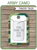 Army Camo Party Favor Tags template