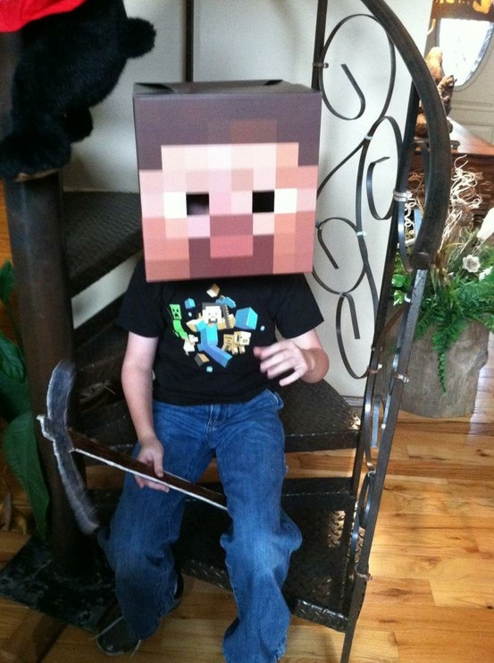minecraft halloween costume brody loved this we made a pick axe out