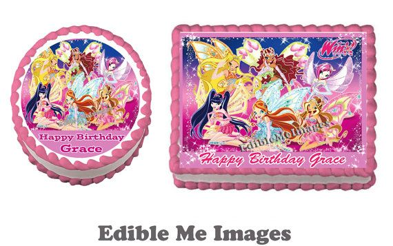 WINX CLUB Birthday Party Edible Cake by CustomEdibleMeImages, $8.50