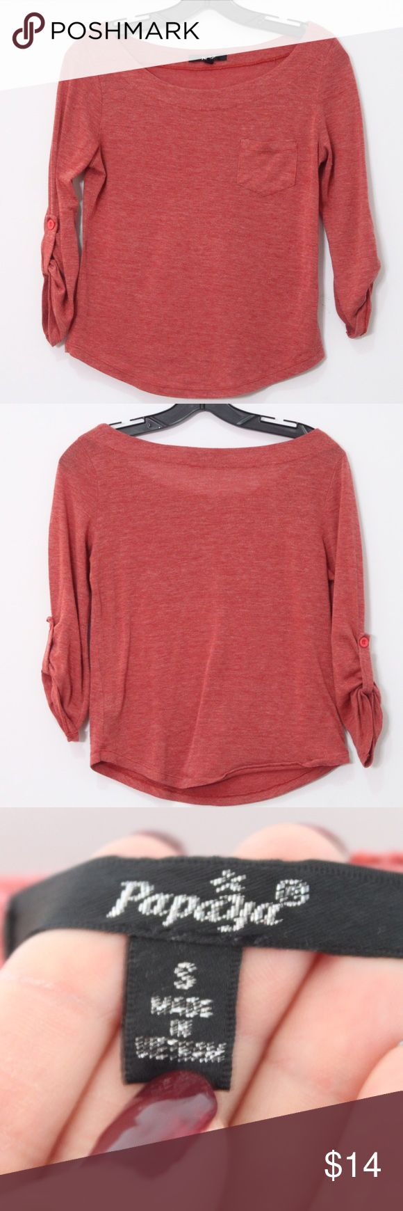 Papaya clothing red half sleeves top Red half sleeves top in great condition! Perfect for the spring time! papaya clothing  Tops
