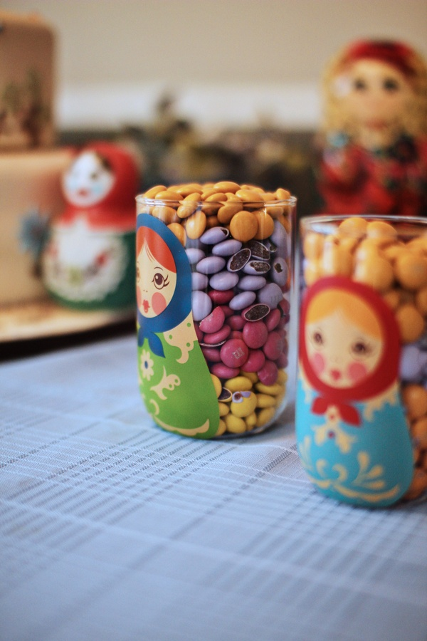 Matryoshka birthday: cute but not very healthy way to display candies...