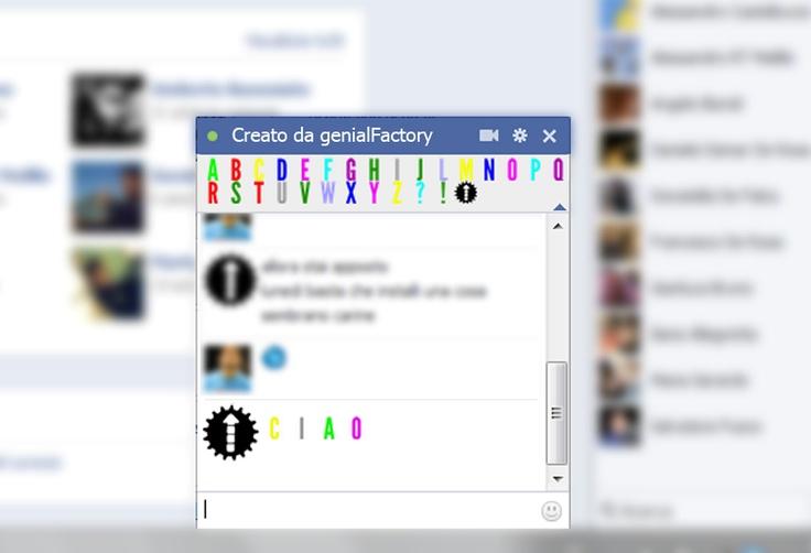 Elenco lettere colorate sempre presente nella chat di Facebook