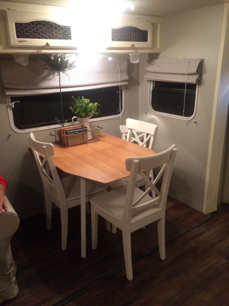 Dining table IKEA with toddler chair Camper renovation