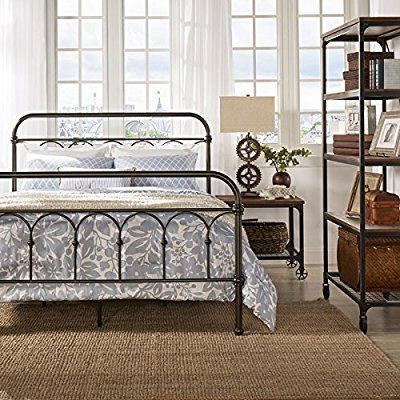 Best Amazon Com Vintage Metal Bed Frame Antique Rustic Dark 640 x 480