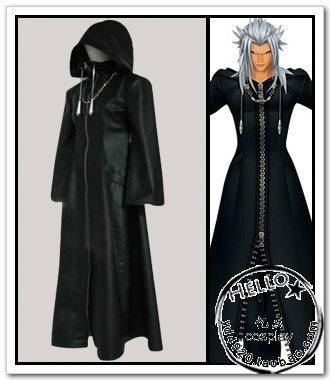 Adult Halloween costumes kingdom hearts II cosplay costumes for men faux Leather jacket trench coat full set custom made