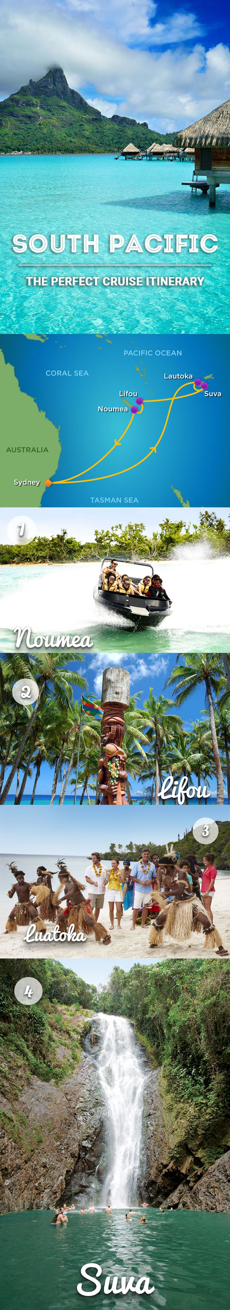 The South Pacific is a cruise destination sought after by cruisers worldwide. It's heavenly blue waters, white sandy beaches and dreamy island hideaways evoke a sense of wonder and pure paradise as the ultimate blissed-out destination.  Take in the best of this region with great itineraries from Brisbane & Sydney. Click the link to find out more.