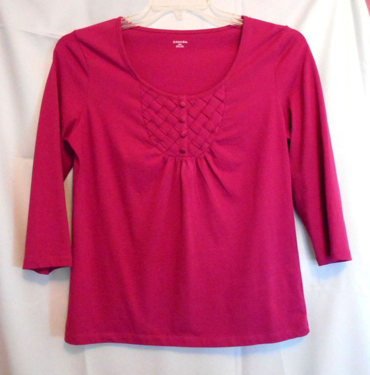 St. John's Bay Deep Pink Smock Top Size S Scoop Neck Woven Inset Covered Button #StJohnsBay #Tunic #Career