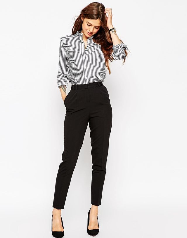 good looking new authentic look out for Business professional outfit black cigarette pants striped shirt ...
