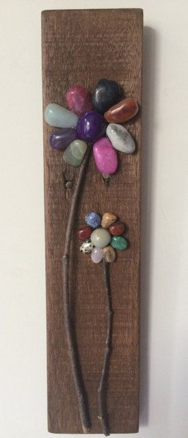 Colored Pebble Flowers Repurposed Wood by PeaceLoveAndPallets
