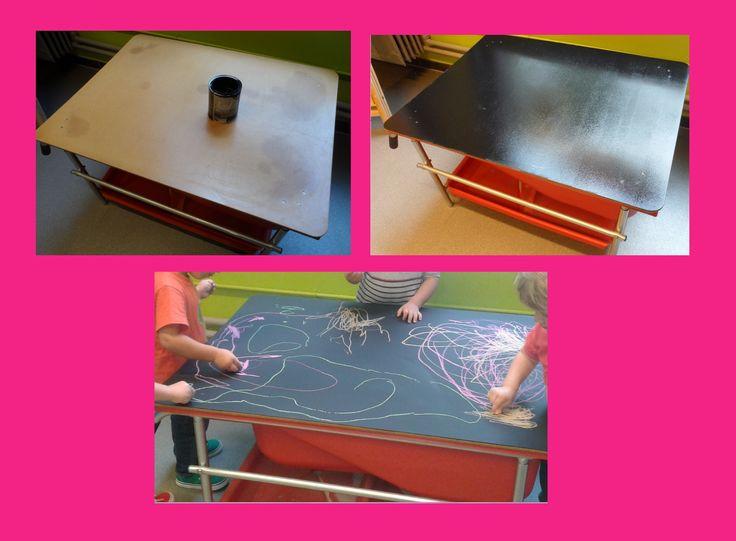 Maak de zandtafel multifunctioneel door op het deksel van de zandbak schoolbord verf aan te brengen.