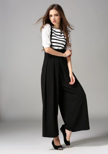 7da5ed93331a New-Women-Casual-Pleated-High-Waisted-Wide-Leg-Palazzo-Pants-Suspenders- Trousers