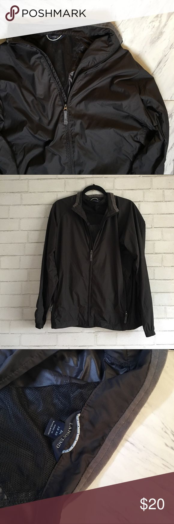 BLACK WINDBREAKER Black windbreaker in good condition, perfect for a windy spring day or a cool summer night dream Lands' End Jackets & Coats Windbreakers