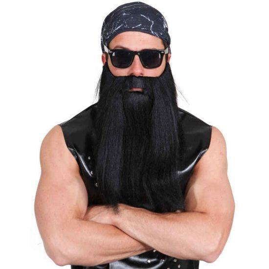 Baardset met zwart stijl haar  Biker baardset zwart. Zwarte baard en snor met stijl haar.  EUR 10.95  Meer informatie