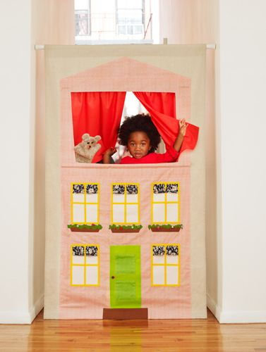 Puppet theater made out of a roller shade: