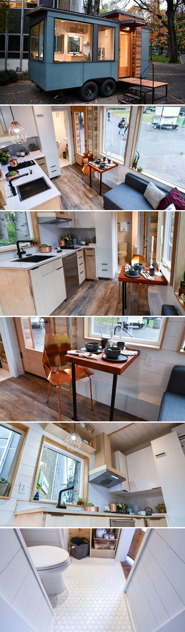 This stylish tiny house is the Verve Lux. At 16-feet long it's one of the smaller tiny houses on the market, but it still has room for all the essentials. #tinyhouses