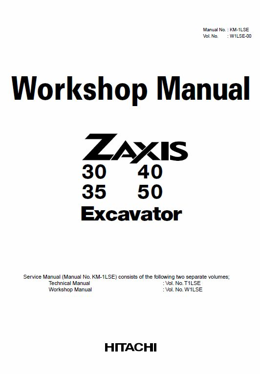 Hitachi ZX30, ZX35, ZX40 and ZX50 ZAXIS Excavator Service