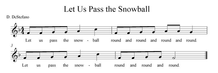 """Let Us Pass the Snowball: instead of Let Us Chase the Squirrel. Vocal exploration: whoever the """"snowball"""" stops on throws it up in the air and the class makes their voices go up/down with the object."""
