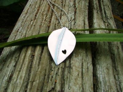 Autumn Day Silver Handcut Leaf Pendant