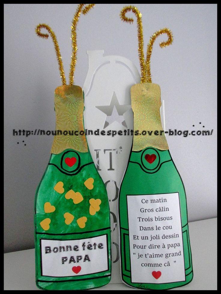 """.. Bouteille de champagne """" bonne fête papa """" ..                                                                                                                                                                                 Plus"""