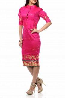 Stand Collar Cut -Cuff Pencil Fit Dress By Nesavaali - Rs.2450