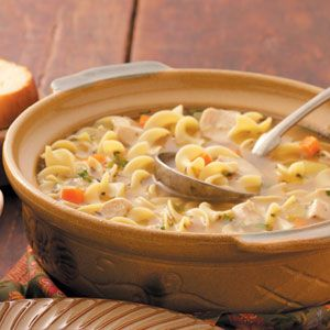 Chunky Chicken Noodle Soup -- perfect second-day meal after cooking a chicken in the crock-pot. lotsa chicken, noodles, and veggies make it hubs-friendly. :)