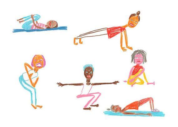 Stretching Ladies 1 - Original Illustration - in color pencil