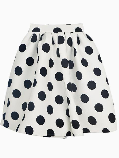 White Polka Dot Skater Skirt | Choies