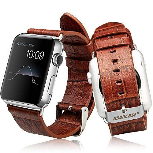 cool Apple Watch Strap 42mm, Jisoncase® Classic Wrist Band Alligator Grain Leather Strap with Adapter for Apple Watch iWatch All Models 42mm Croco Brown JS-AW4-06V20