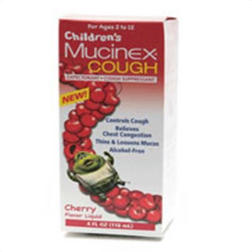 Buy Now Mucinex Cough Expectorant and Suppressant for Childrens, Liquid Cherry - 4 Oz. Mucinex for Childrens Cough Expectorant and Suppressant Cherry Liquid helps loosen phlegm (mucus) and thin bronchial secretionsMucinex for Childrens Cough Expectorant and Suppressant Cherry Liquid helps loosen phlegm (mucus) and thin bronchial secretions