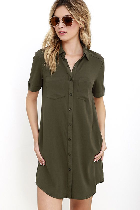 e1c4d14570e2 Lulus | Oxford Comma Olive Green Shirt Dress | Size Medium in 2019 |  Dresses and rompers | Green shirt dress, Blue shirt dress, Collared shirt  dress