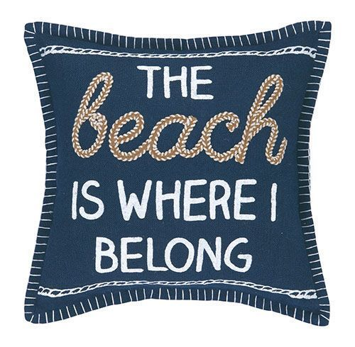 "This new Navy Blue 100% jute throw pillow with embroidered quote of """"The Beach is Where I Belong"""" is a guaranteed fit for your beach cottage decorating motif. We love the fun details and off-white e"