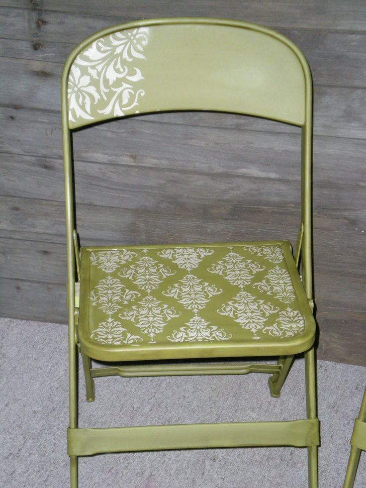 stenciled folding chair - what a cute way to make ugly folding chairs more attractive