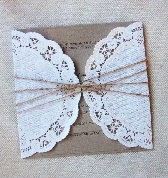 kraft rustique franais vintage lacent napperon poche pli invitation de mariage - Faire Part Mariage Etsy