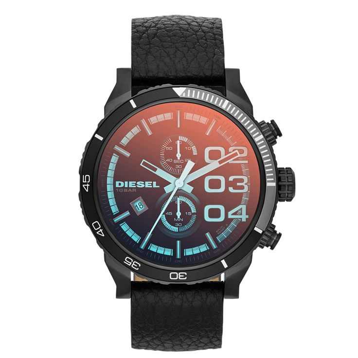 Diesel DZ4311 Gents Black leather strap Analog quartz watch.  The Diesel Men's Watch Double Down 48 has a stainless steel case, a black leather strap and scratch-resistant mineral glass iridescent. She has light blue hands and indices and is up to 10 bar waterproof.
