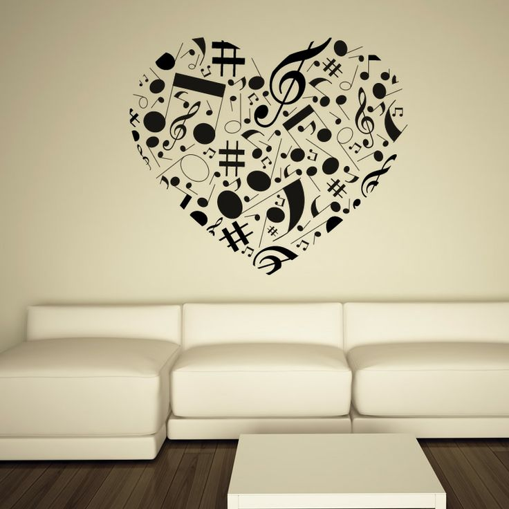 Beautiful Musical Note Love Heart Wall Art Sticker Wall Decal Transfers Part 18