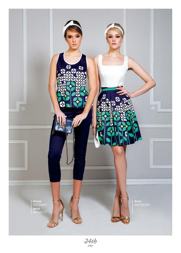 Retro style flower printed outfit.