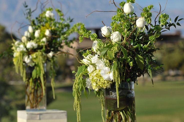 Green and White altar pieces from Enchanted Florist Las Vegas #BragAboutYourFlowers