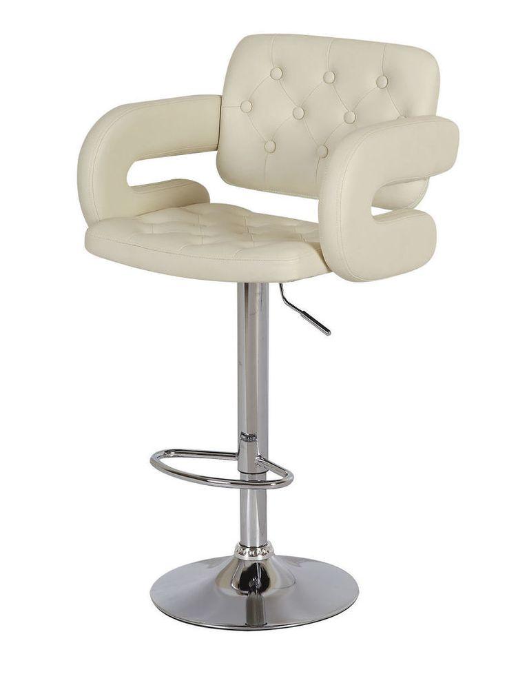 Cream Leather Chair Home Breakfast Kitchen Bar Pub Furniture Set Modern Stools