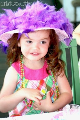 Little girl tea party hats - Target $1 Easter hats with feathers glued on.