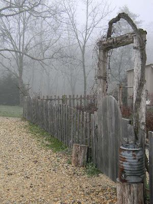 old wooden garden fence and gate - I love this.  Maybe when we live somewhere more permanent