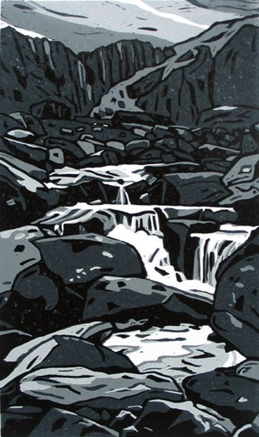 O'r mynydd i'r môr (From the mountain to the sea) linocut by Ann Lewis