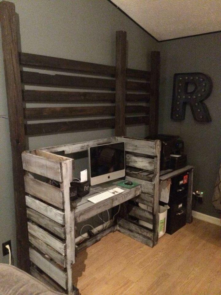 45 Diy Corner Desk Ideas With Simple And Efficient Design Concept Diy Corner Desk Pallet Diy Wood Pallet Projects