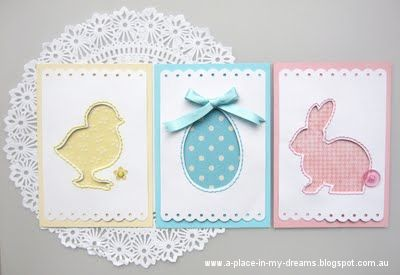 handmade Easter cards ... adorable Easter ikons die cut and used elsewhere ... negative space has sewing around the perimeter and sweet prined paper  showing through ...