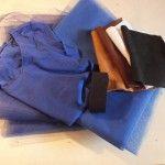 Ihr braucht: - dunkel blauen Tüll = 1,40 m x 2,10 m - mittel dunkel blauen Tüll = 1,40 m x 2,50 m - 1 blaues T-Shirt - 1m langes breites Gummiband blau oder schwarz - 1 weiße Filzlage - 1 schwarze Filzlage - 3 hell braune Filzlagen - 1 dunkel braune Filzlage