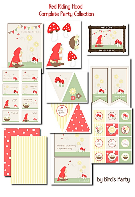 FREE printable faux wooden cupcake wrappers plus Red riding hood party pack