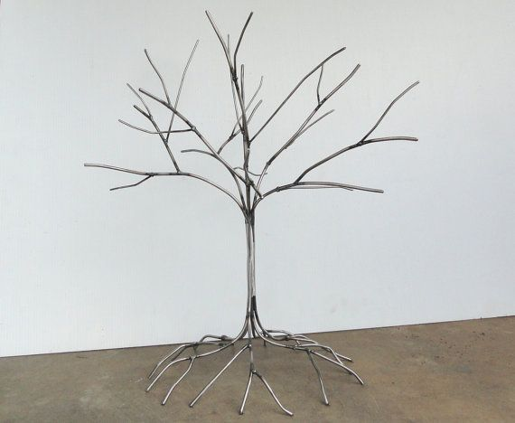 Handmade Metal Tree Sculpture  Welded Art by BluePawRelicsnResto