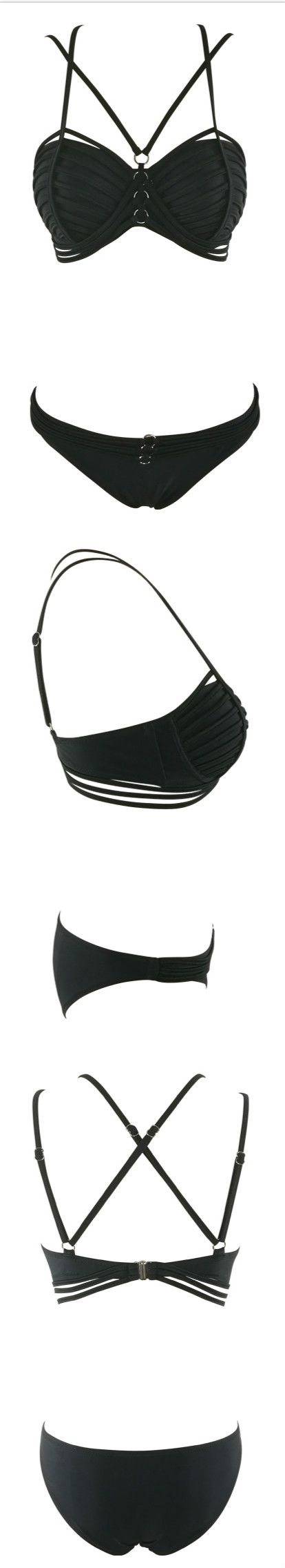 Sleek and sassy, this Color Block Strappy Bikini gives you the silhouette you crave. More surprise at AZBRO.com