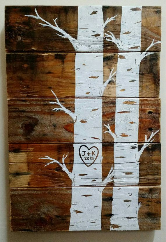 Custom Quaking Aspens with initials and date Pallet Art, Wood Sign, Wall Hanging, Upcycled, Repurposed, Wood Pallet, Hand Made, Wedding gift