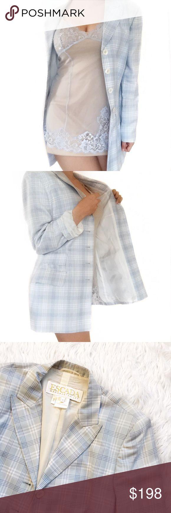 "• Escada • Plaid Cotton Blazer Stunning cotton Blazer. Fully lined with the escada logo throughout the lining.   \\ bust 19""  \\ length 29"" Escada Jackets & Coats Blazers"