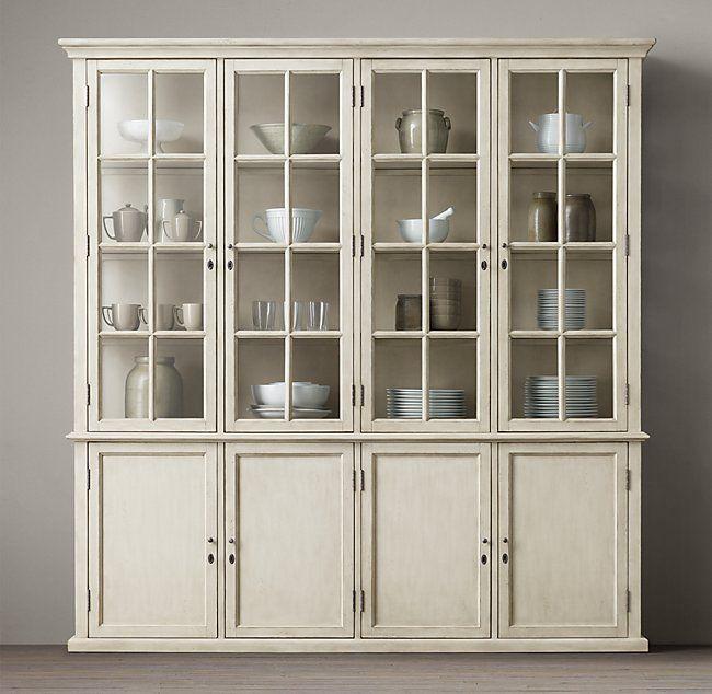 Hampton Casement 4-Door Panel Sideboard & Glass Hutch